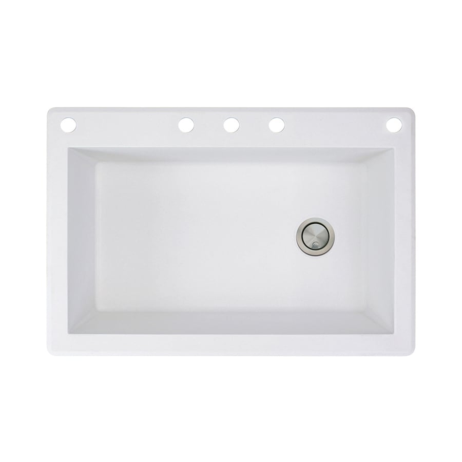 Transolid Radius 22-in x 33-in White Single-Basin Granite Drop-in 5-Hole Residential Kitchen Sink