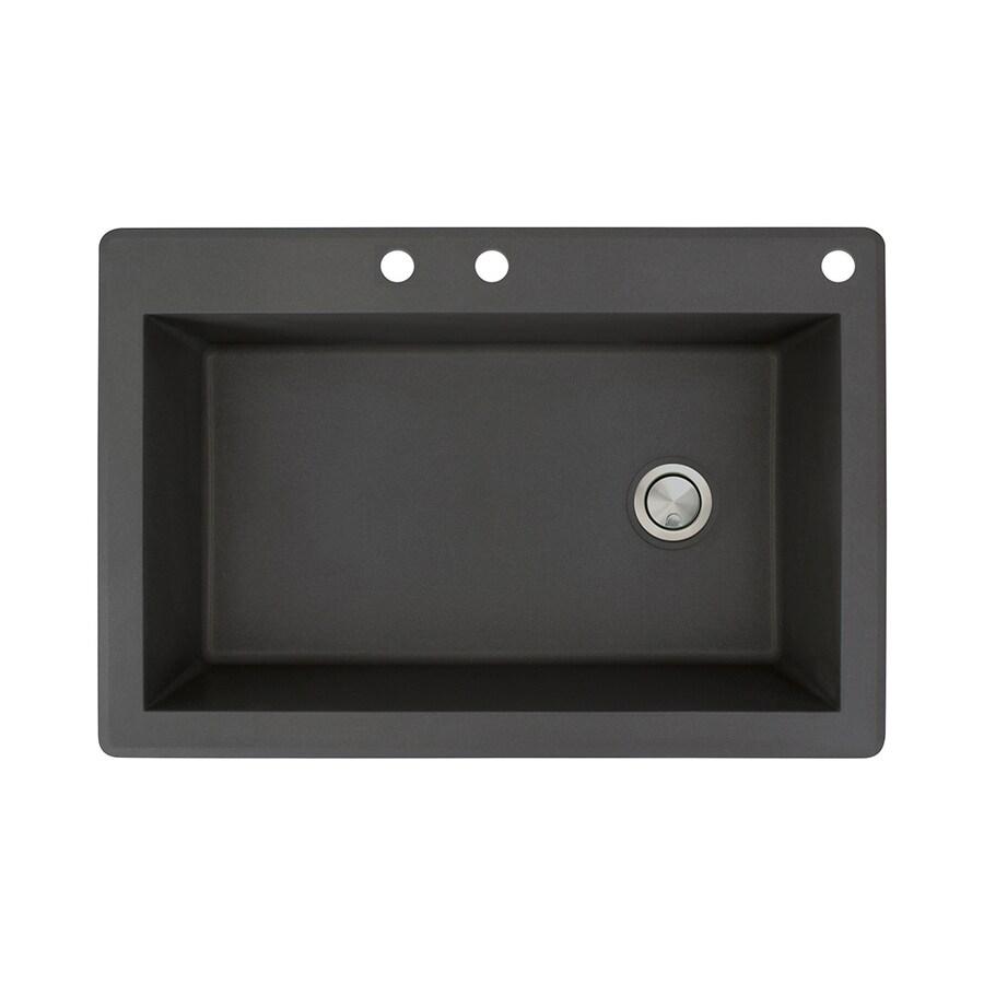 Transolid Radius 22-in x 33-in Black Single-Basin Granite Drop-in 3-Hole Residential Kitchen Sink