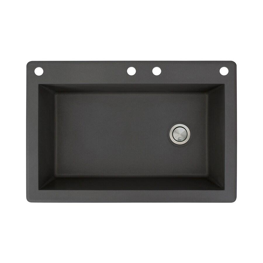 Transolid Radius 22-in x 33-in Black Single-Basin Granite Drop-in 4-Hole Residential Kitchen Sink