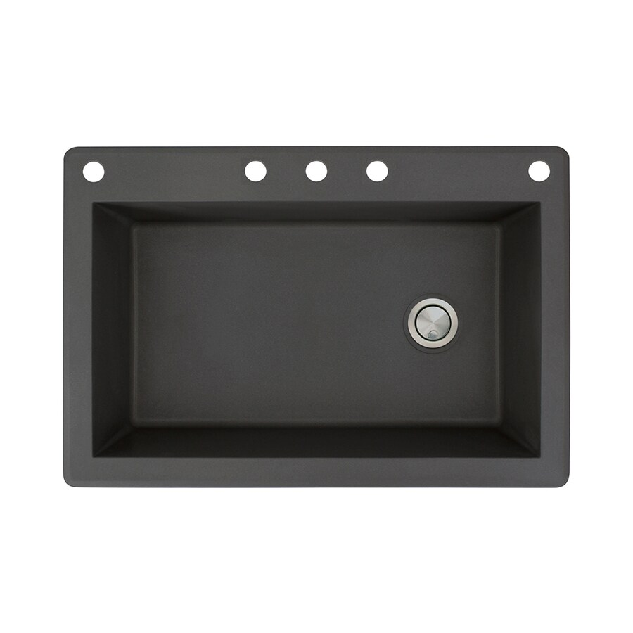 Transolid Radius 22-in x 33-in Black Single-Basin Granite Drop-in 5-Hole Residential Kitchen Sink