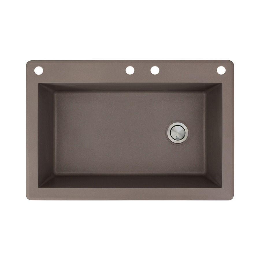 Transolid Radius 22-in x 33-in Espresso Single-Basin Granite Drop-in 4-Hole Residential Kitchen Sink