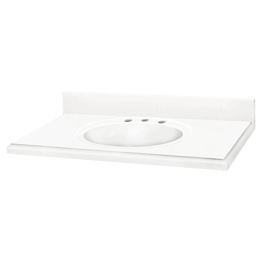 Transolid Decor Snow and White Solid Surface Integral Single Sink Bathroom Vanity Top (Common: 25-in x 22-in; Actual: 25-in x 22-in)