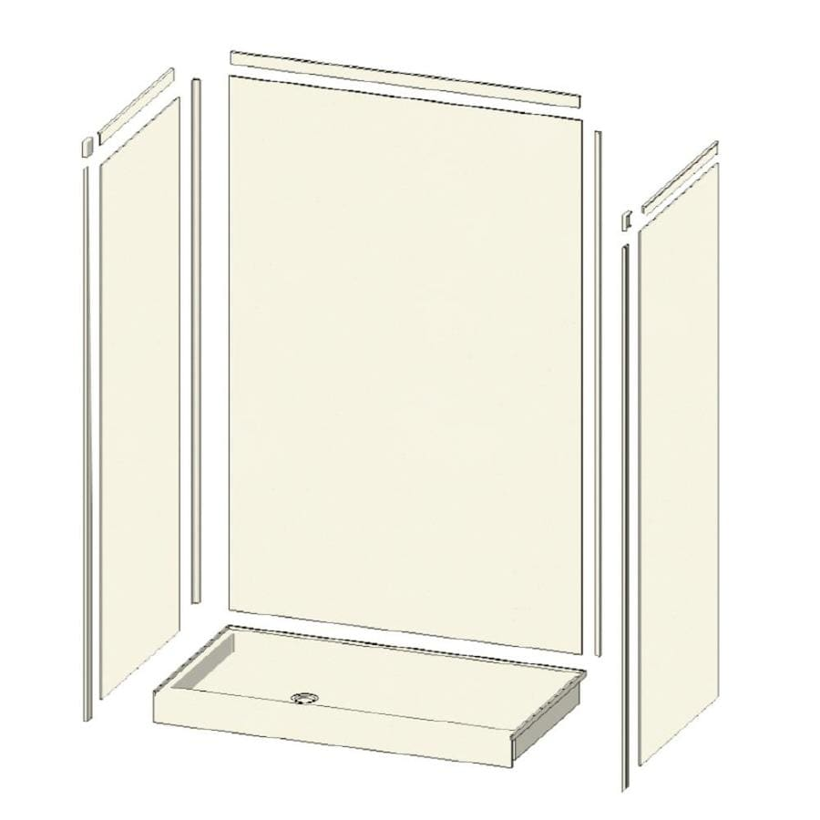 Transolid Decor Decor Cameo/Cream Compostie Wall and Floor 5-Piece Alcove Shower Kit (Common: 32-in x 48-in; Actual: 72-in x 32-in x 48-in)