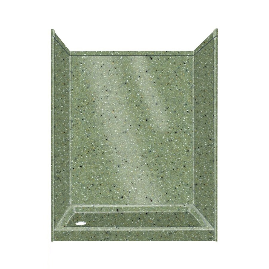 Transolid Decor Decor Peppered Sage Compostie Wall and Floor 5-Piece Alcove Shower Kit (Common: 32-in x 60-in; Actual: 72-in x 32-in x 60-in)