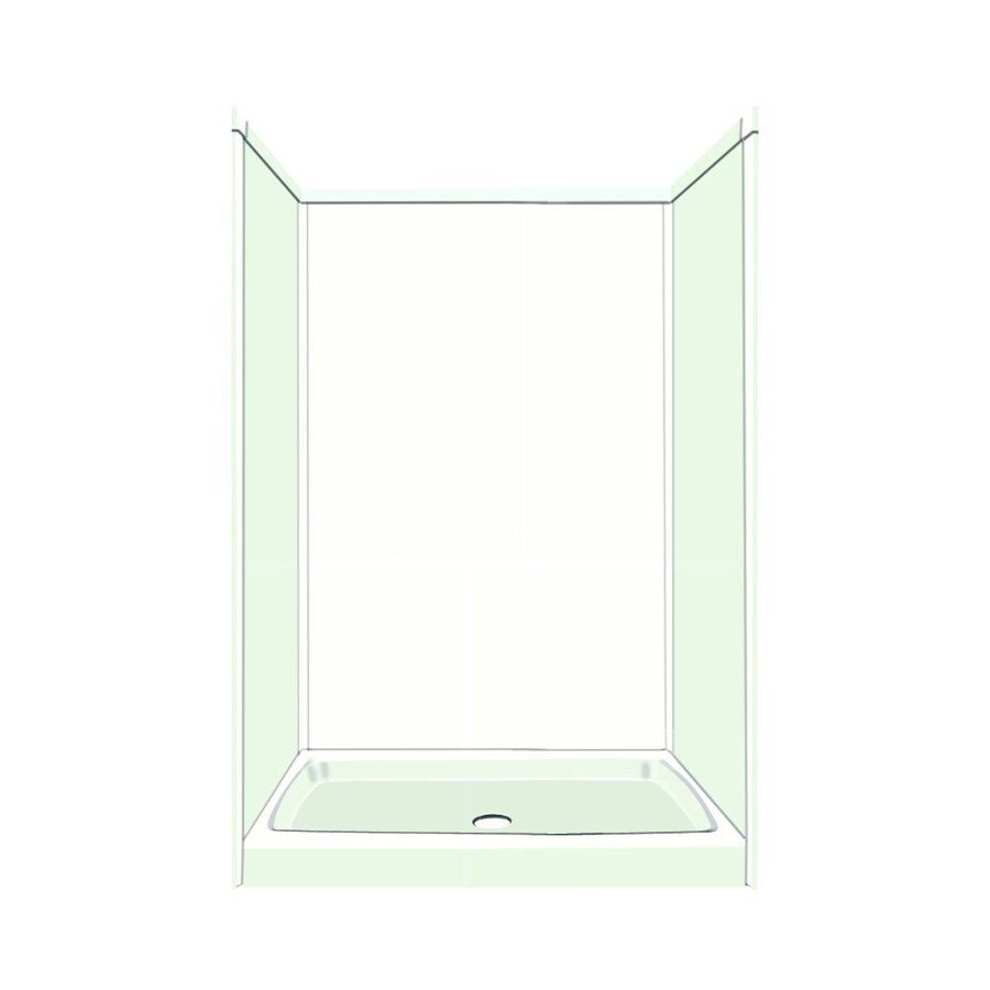 Transolid Decor Decor White/Snow Compostie Wall and Floor 5-Piece Alcove Shower Kit (Common: 34-in x 48-in; Actual: 72-in x 34-in x 48-in)