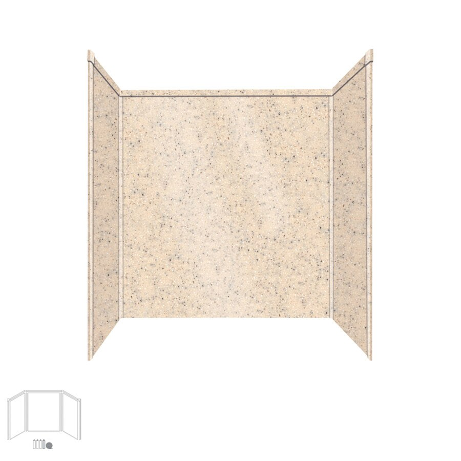 Transolid Decor Matrix Khaki/Sunset Sand Shower Wall Surround Side and Back Panels (Common: 32-in; Actual: 60-in x 32-in)