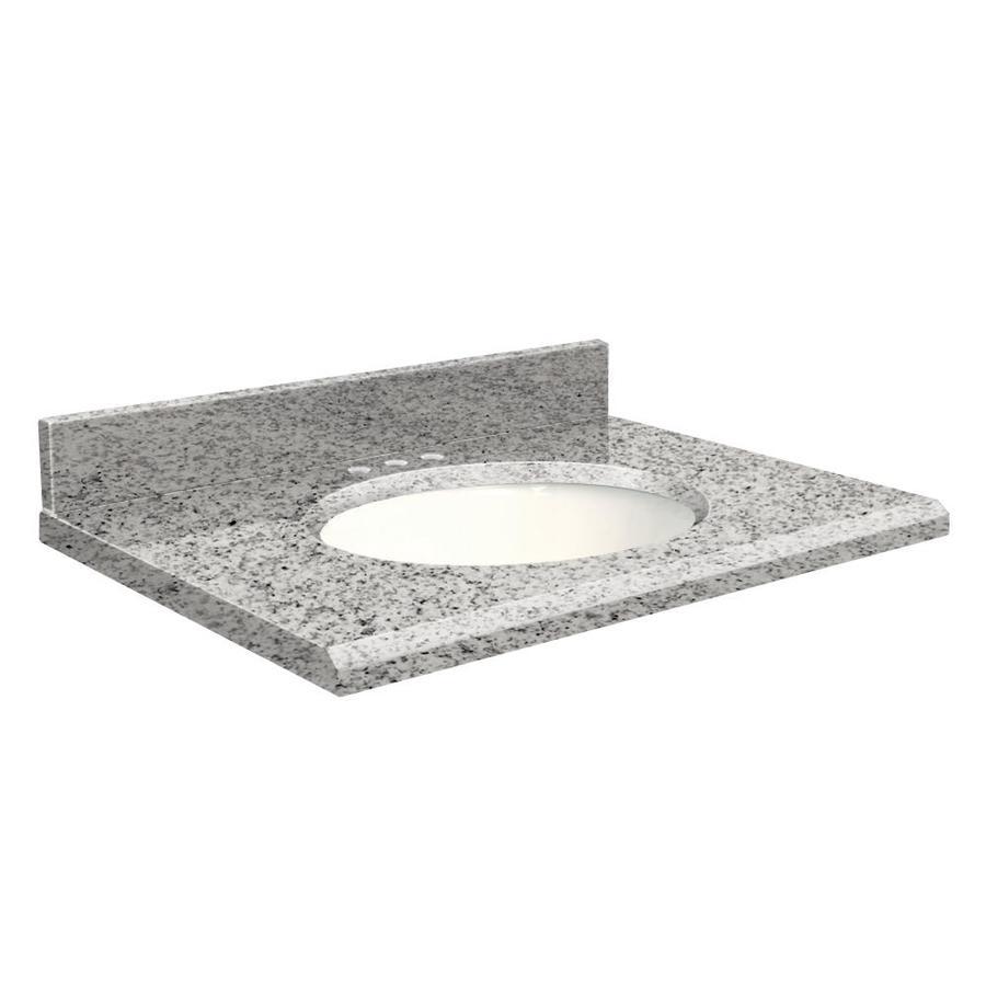 Transolid Rosselin White Granite Undermount Single Sink Bathroom Vanity Top (Common: 25-in x 22-in; Actual: 25-in x 22-in)