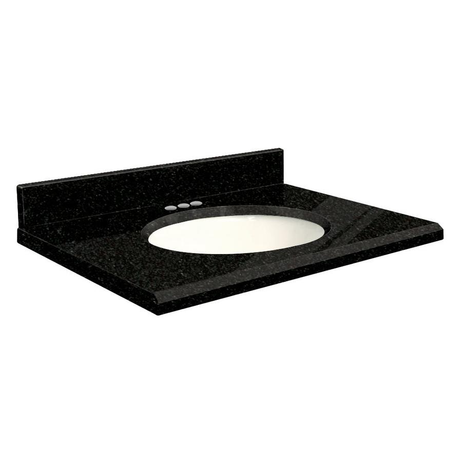 Transolid Absolute Black Granite Undermount Single Sink Bathroom Vanity Top (Common: 25-in x 22-in; Actual: 25-in x 22-in)