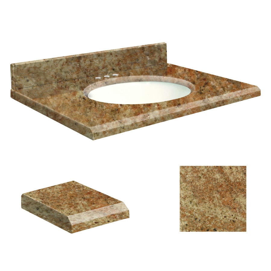 Transolid India Gold Granite Undermount Single Sink Bathroom Vanity Top (Common: 31-in x 22-in; Actual: 31-in x 22-in)