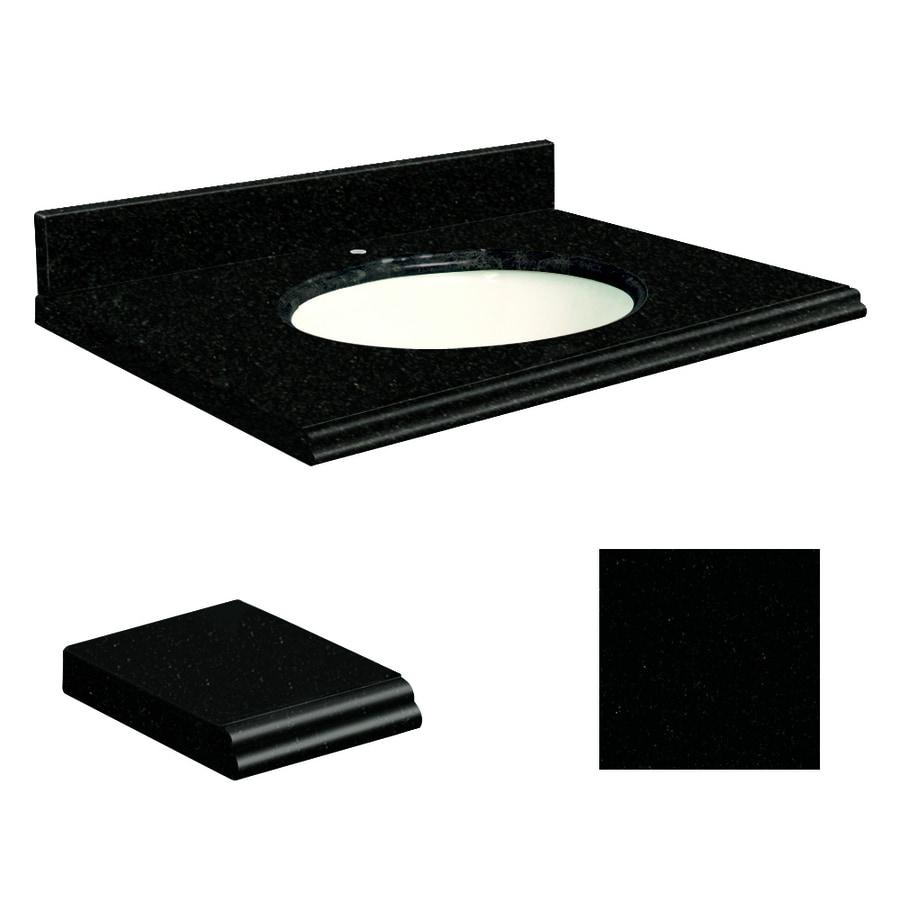 Transolid Absolute Black Granite Undermount Single Sink Bathroom Vanity Top (Common: 37-in x 22-in; Actual: 37-in x 22-in)