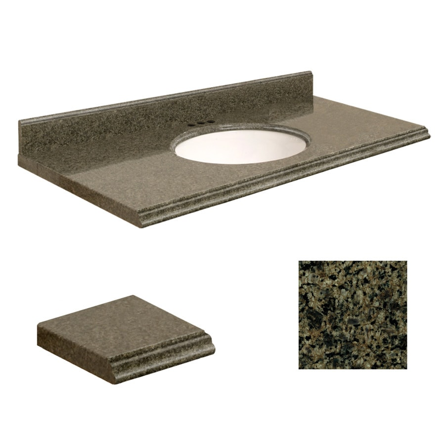 Shop Transolid Sea Green Granite Undermount Single Sink Bathroom Vanity Top Common 43 In X 22