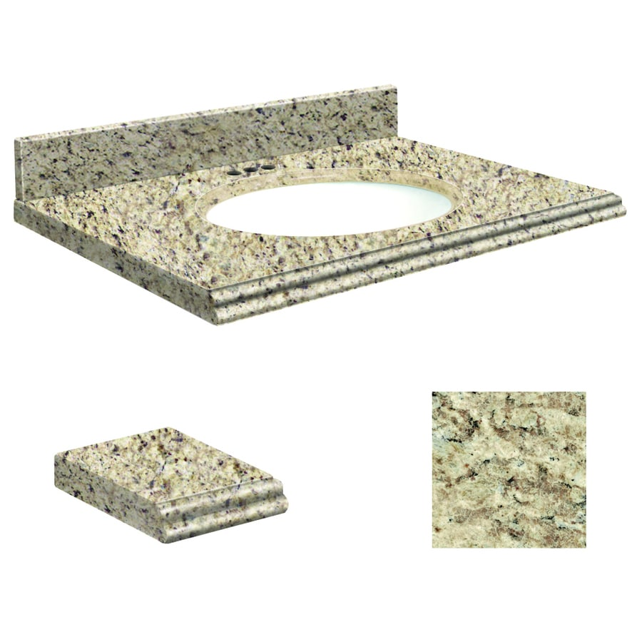 Transolid Giallo Ornamental Granite Undermount Single Bathroom Vanity Top (Common: 49-in x 22-in; Actual: 49-in x 22.25-in)