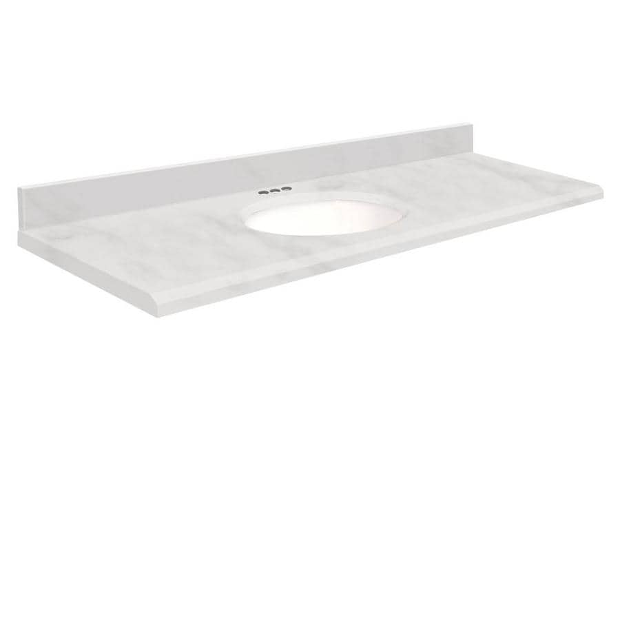Transolid White Marble Natural Marble Undermount Single Bathroom Vanity Top (Common: 61-in x 22-in; Actual: 61-in x 22-in)