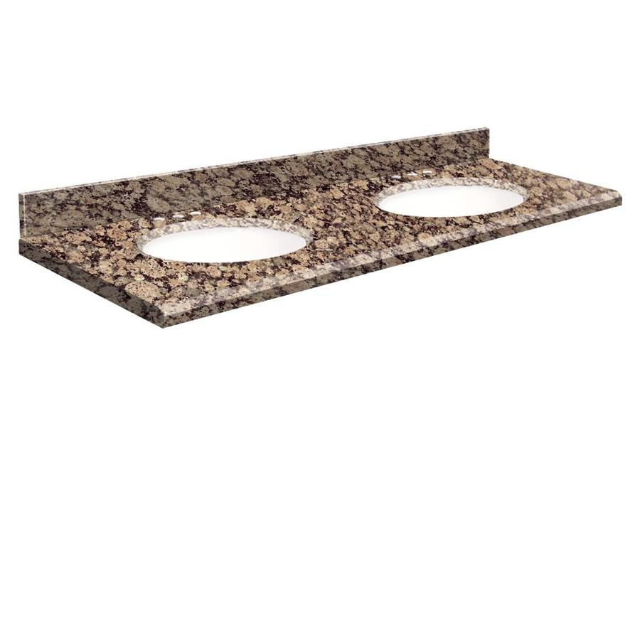 Transolid Baltic Brown Granite Undermount Double Bathroom Vanity Top (Common: 61-in x 22-in; Actual: 61-in x 22.25-in)
