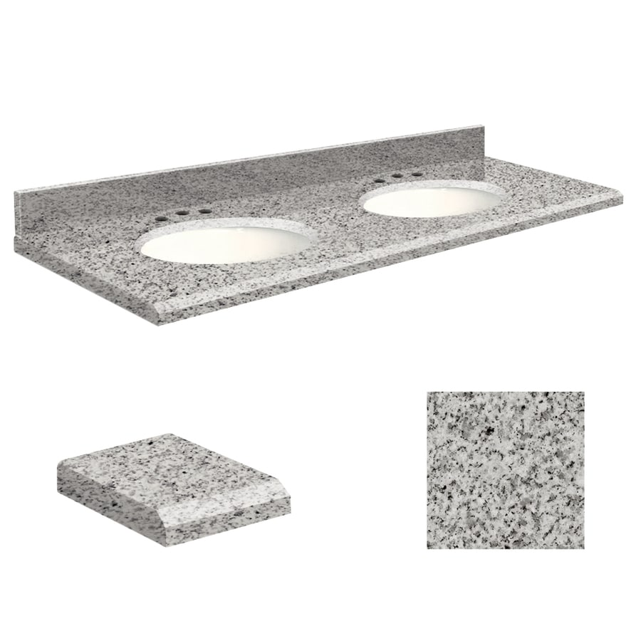 Transolid Rosselin White Granite Undermount Double Bathroom Vanity Top (Common: 61-in x 22-in; Actual: 61-in x 22.25-in)