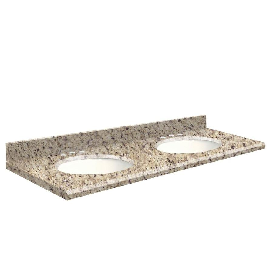 Transolid Giallo Ornamental Granite Undermount Double Bathroom Vanity Top (Common: 61-in x 22-in; Actual: 61-in x 22.25-in)