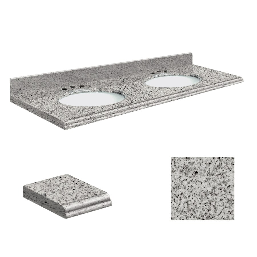 Transolid Rosselin White Granite Undermount Double Bathroom Vanity Top (Common: 61-in x 22-in; Actual: 61-in x 22-in)