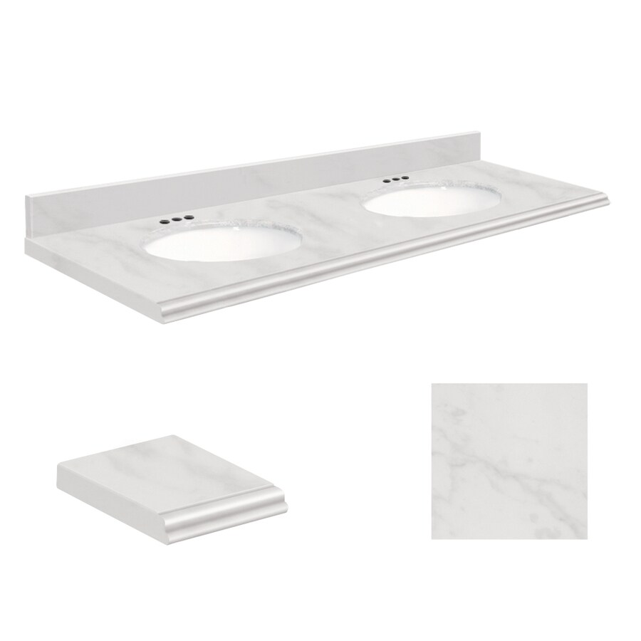 Transolid White Marble Natural Marble Undermount Double Bathroom Vanity Top (Common: 61-in x 22-in; Actual: 61-in x 22.25-in)