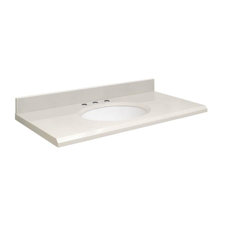 Shop transolid milan white quartz undermount single for Bathroom quartz vanity tops
