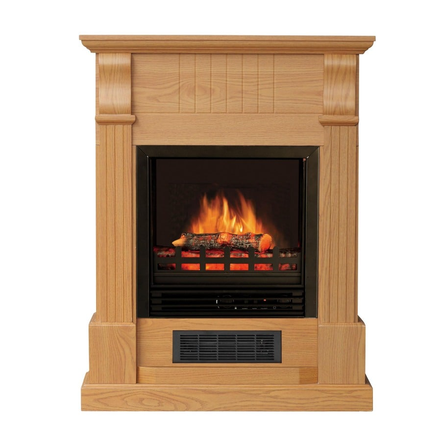 Shop Stay Warm 28 In W 5 115 Btu Golden Oak Wood And Metal Wall Mount Electric Fireplace With