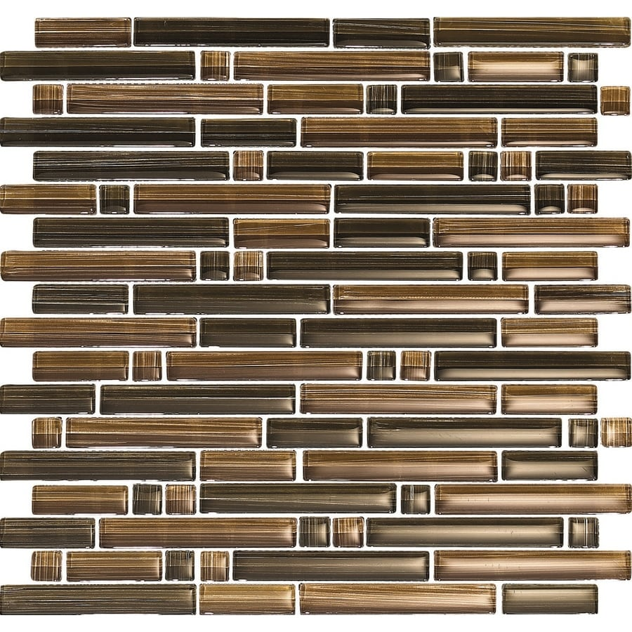 EPOCH Architectural Surfaces Brushstrokes 5-Pack Browns/Tans Linear Mosaic Glass Wall Tile (Common: 12-in x 12-in; Actual: 11.75-in x 11.87-in)