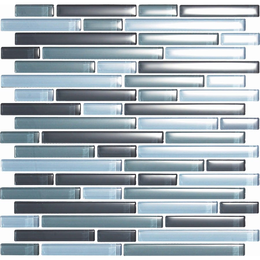 EPOCH Architectural Surfaces Color Blends 5-Pack Grays Linear Mosaic Glass Wall Tile (Common: 12-in x 12-in; Actual: 11.75-in x 11.87-in)