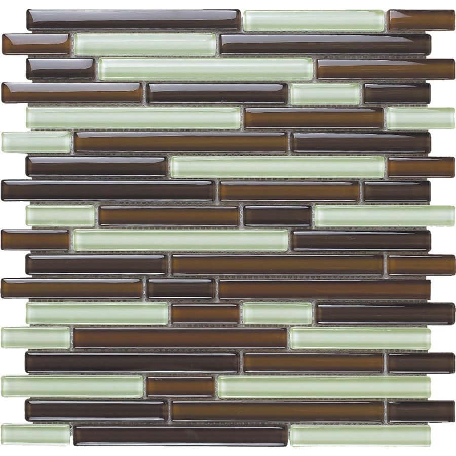 EPOCH Architectural Surfaces Color Blends 5-Pack Browns/Tans Linear Mosaic Glass Wall Tile (Common: 12-in x 12-in; Actual: 11.75-in x 11.87-in)