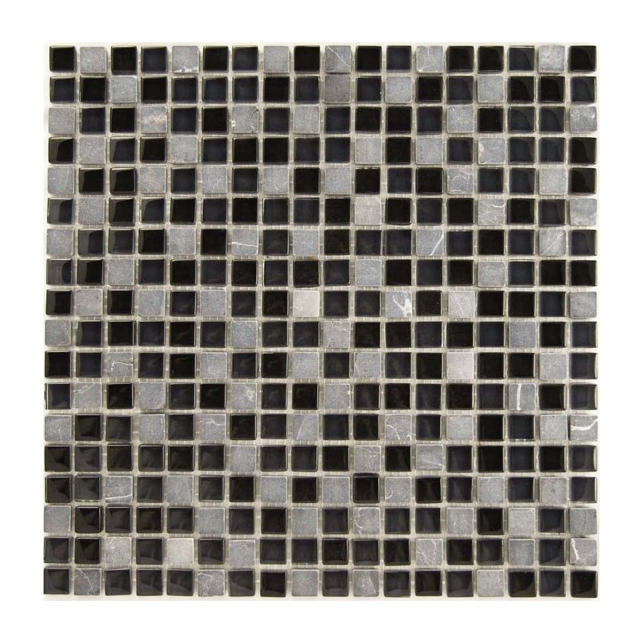 EPOCH Architectural Surfaces Dancez 5-Pack Blacks Uniform Squares Mosaic Stone and Glass Marble Wall Tile (Common: 12-in x 12-in; Actual: 11.75-in x 11.75-in)