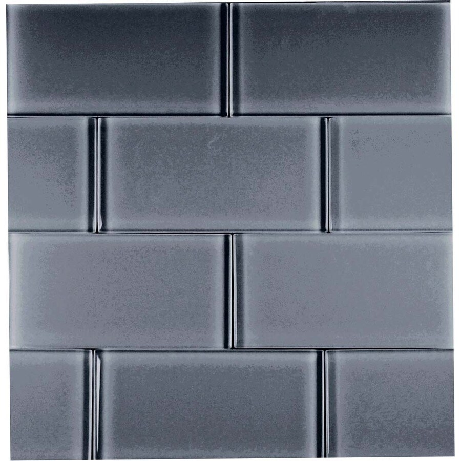 EPOCH Architectural Surfaces Dancez 5-Pack Blacks Subway Glass Wall Tile (Common: 12-in x 12-in; Actual: 2.99-in x 5.94-in)