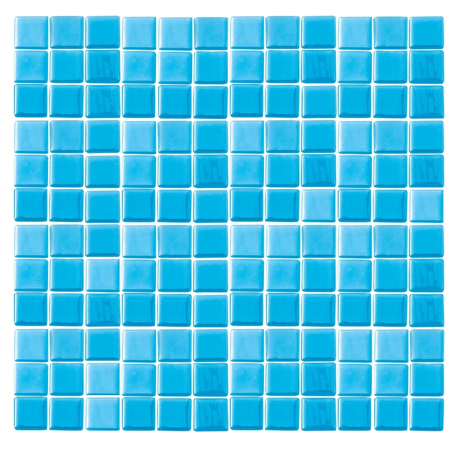 EPOCH Architectural Surfaces Futerez Blue Uniform Squares Mosaic Glass Wall Tile (Common: 12-in x 12-in; Actual: 12.25-in x 12.25-in)
