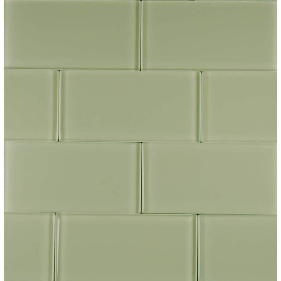 EPOCH Architectural Surfaces Riverz 5-Pack Greens Subway Mosaic Glass Wall Tile (Common: 12-in x 12-in; Actual: 2.99-in x 5.94-in)