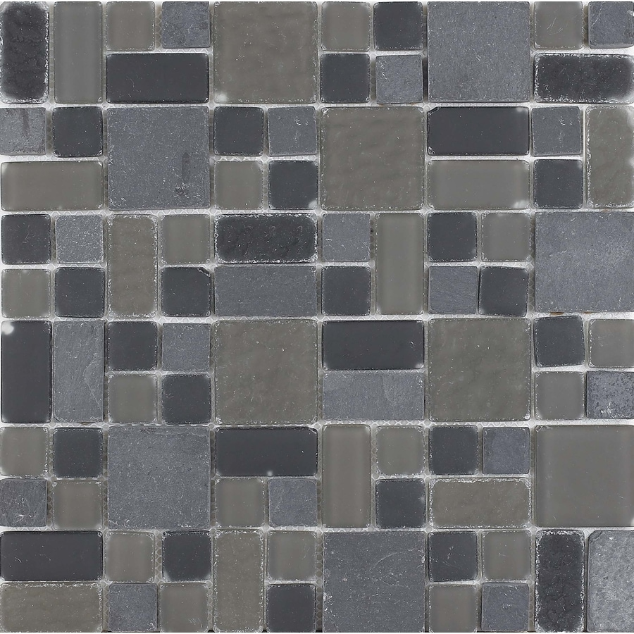 EPOCH Architectural Surfaces No Ka'Oi Multi Mixed Pattern Mosaic Stone and Glass Slate Wall Tile (Common: 12-in x 12-in; Actual: 11.75-in x 11.75-in)