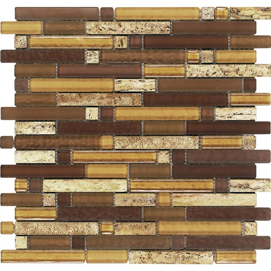 EPOCH Architectural Surfaces Varietals 5-Pack Multi Linear Mosaic Stone and Glass Travertine Wall Tile (Common: 12-in x 12-in; Actual: 11.75-in x 11.87-in)