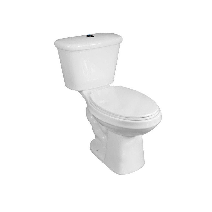 AquaSource White 1.1 GPF High Efficiency WaterSense Elongated Dual-Flush 2-Piece Toilet