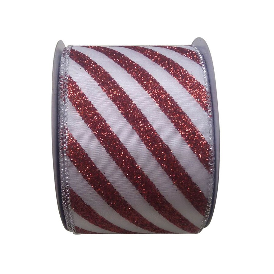Holiday Living 2.5-in W x 30-ft L Multiple Striped Ribbon