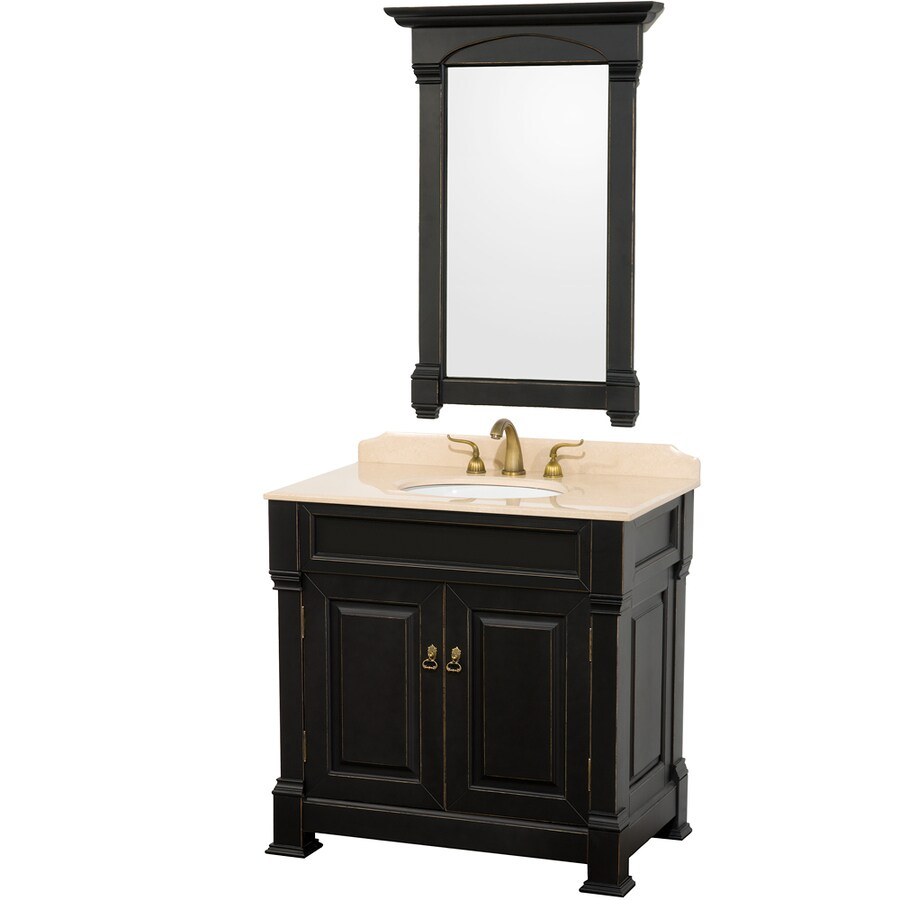 Wyndham Collection Andover Black Undermount Single Sink Oak Bathroom Vanity with Natural Marble Top (Mirror Included) (Common: 36-in x 23-in; Actual: 36-in x 23-in)