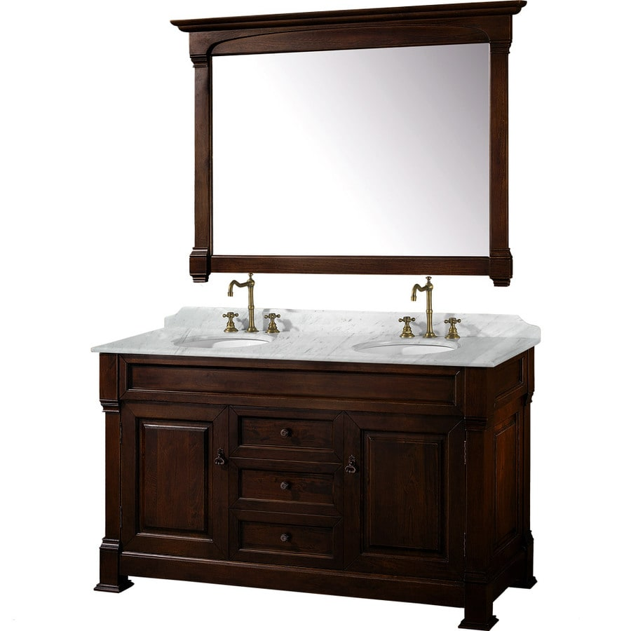 shop wyndham collection andover cherry undermount double sink oak bathroom vanity with natural