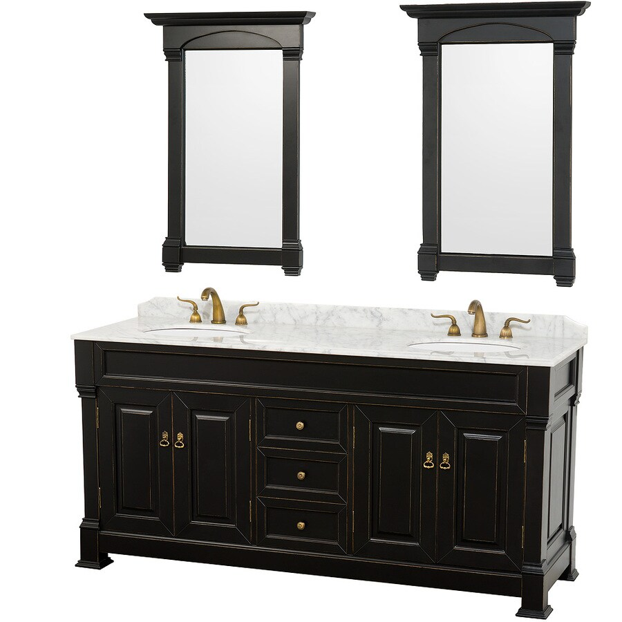 Wyndham Collection Andover Black Undermount Double Sink Oak Bathroom Vanity with Natural Marble Top (Mirror Included) (Common: 72-in x 23-in; Actual: 72-in x 23-in)