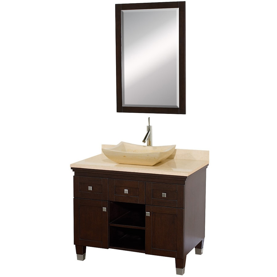 Wyndham Collection Premiere Espresso Vessel Single Sink Oak Bathroom Vanity with Natural Marble Top (Mirror Included) (Common: 36-in x 22-in; Actual: 36-in x 22-in)