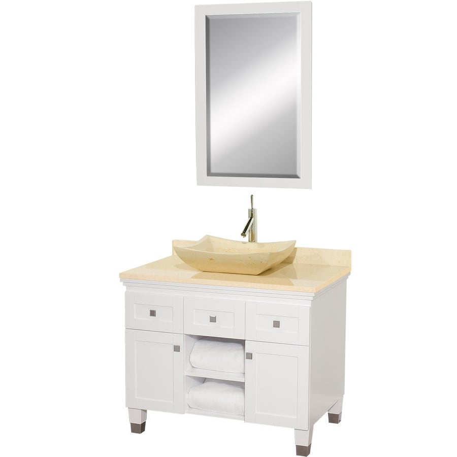 Wyndham Collection Premiere White Vessel Single Sink Oak Bathroom Vanity with Natural Marble Top (Mirror Included) (Common: 36-in x 22-in; Actual: 36-in x 22-in)