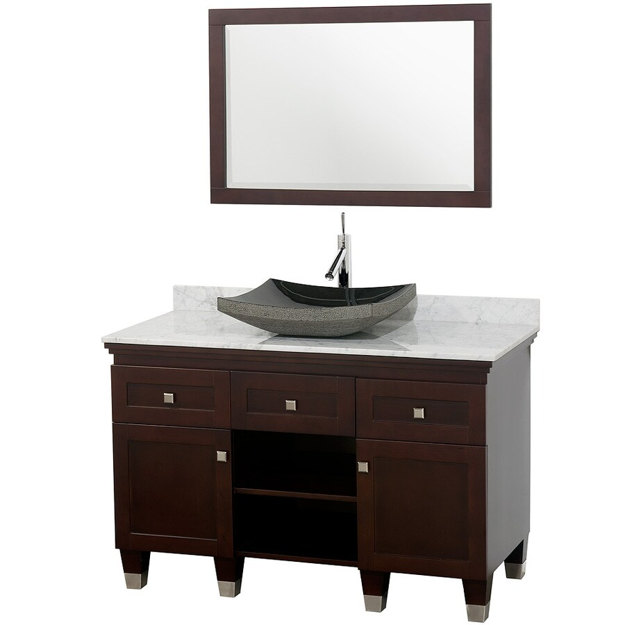 Wyndham Collection Premiere Espresso Vessel Single Sink Oak Bathroom Vanity with Natural Marble Top (Mirror Included) (Common: 48-in x 22-in; Actual: 48-in x 22-in)