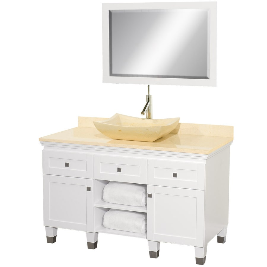 Wyndham Collection Premiere White Vessel Single Sink Oak Bathroom Vanity with Natural Marble Top (Mirror Included) (Common: 48-in x 22-in; Actual: 48-in x 22-in)