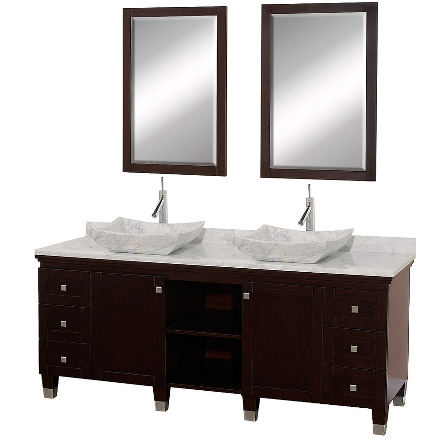 Wyndham Collection Premiere Espresso Vessel Double Sink Oak Bathroom Vanity with Natural Marble Top (Mirror Included) (Common: 72-in x 22-in; Actual: 72-in x 22-in)