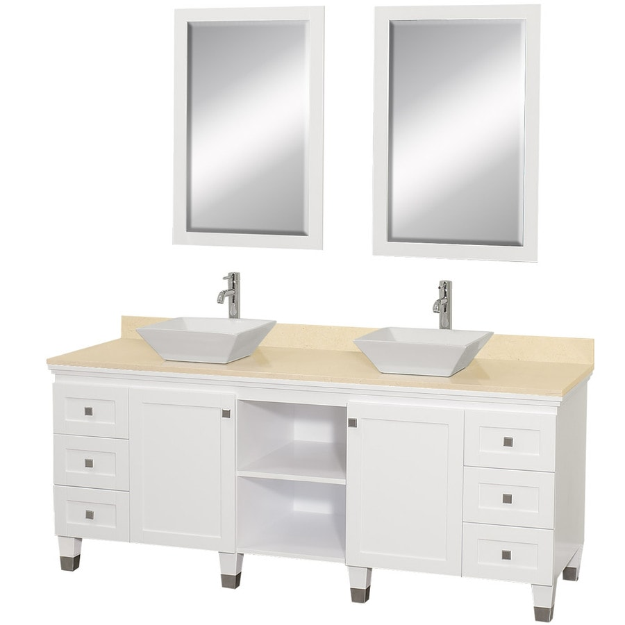 Wyndham Collection Premiere White Vessel Double Sink Oak Bathroom Vanity with Natural Marble Top (Mirror Included) (Common: 72-in x 22-in; Actual: 72-in x 22-in)