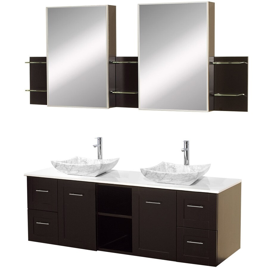 Wyndham Collection Avara Espresso Vessel Double Sink Oak Bathroom Vanity with Solid Surface Top (Mirror Included) (Common: 60-in x 23-in; Actual: 60-in x 22.5-in)