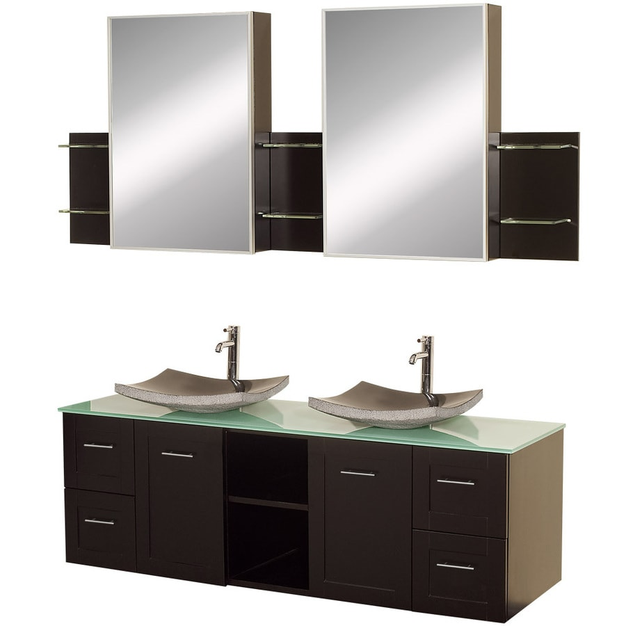 Wyndham Collection Avara Espresso Vessel Double Sink Oak Bathroom Vanity with Tempered Glass and Glass Top (Mirror Included) (Common: 60-in x 23-in; Actual: 60-in x 22.5-in)