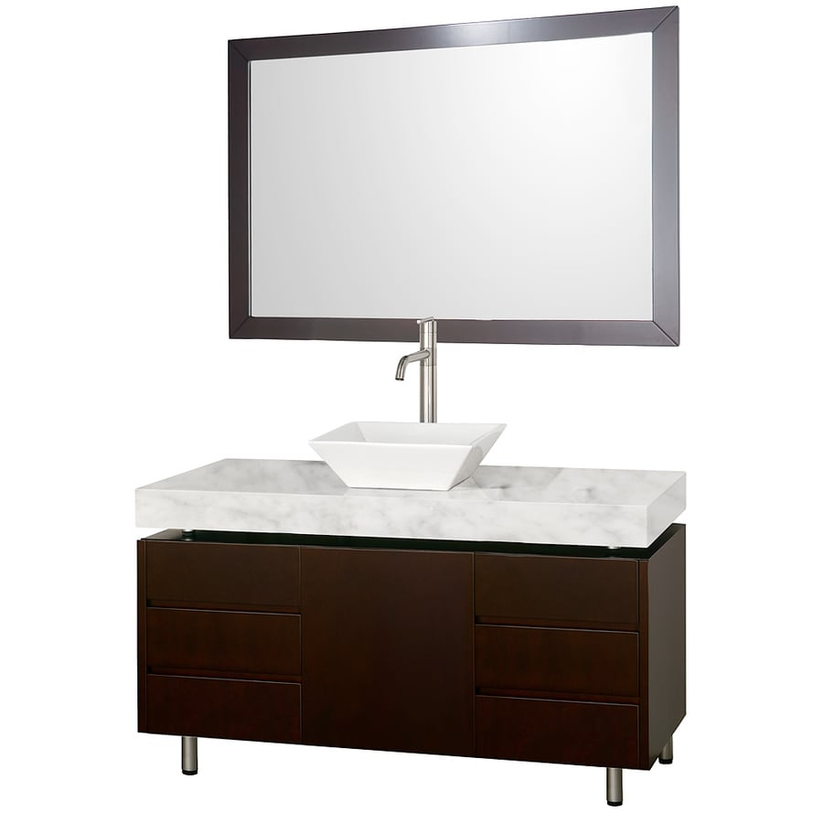 Wyndham Collection Malibu Espresso Vessel Single Sink Oak Bathroom Vanity with Natural Marble Top (Mirror Included) (Common: 49-in x 22-in; Actual: 48.25-in x 22-in)