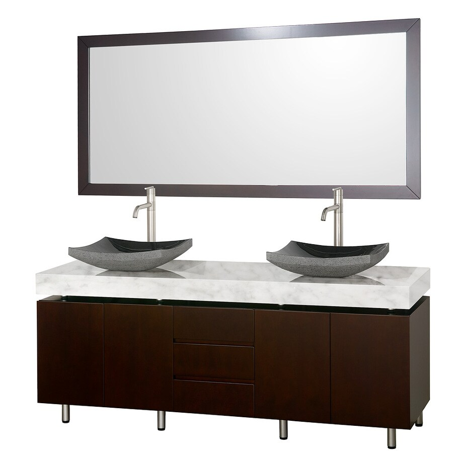 Wyndham Collection Malibu Espresso Vessel Double Sink Oak Bathroom Vanity with Natural Marble Top (Mirror Included) (Common: 72-in x 22-in; Actual: 72-in x 22-in)