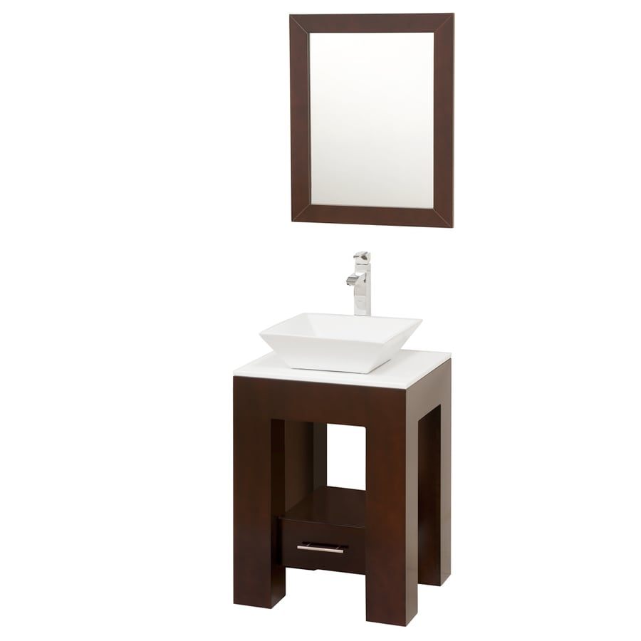Wyndham Collection Amanda Espresso Vessel Single Sink Oak Bathroom Vanity with Glass Top (Mirror Included) (Common: 23-in x 20-in; Actual: 22.25-in x 20-in)