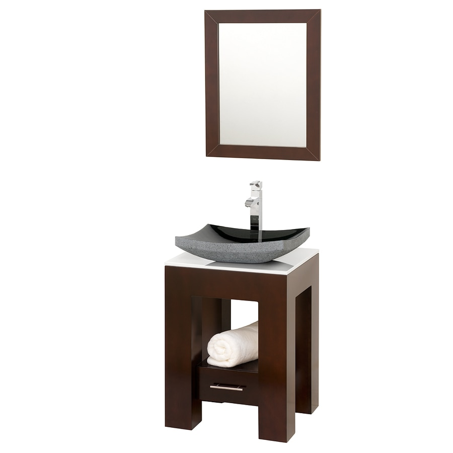 Wyndham Collection Amanda Espresso Vessel Single Sink Oak Bathroom Vanity with Glass Top (Mirror Included) (Common: 23-in x 20-in; Actual: 22.125-in x 20-in)